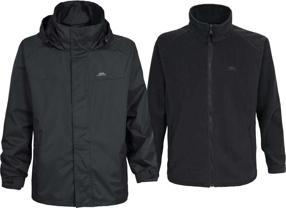 Mens 3in1 Trespass Waterproof Jacket Detachable Fleece Black Brown